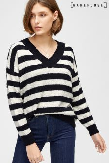 Warehouse Navy/Cream Stripe V-Neck Bouclé Jumper
