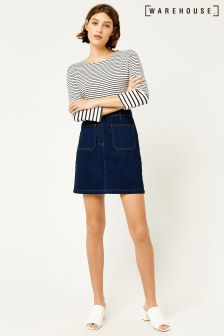 Warehouse Mid Wash Patch Pocket Zip Front Skirt