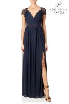 Adrianna Papell Blue Stretch Tulle Gown
