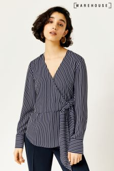 Warehouse Blue Stripe Long Sleeve Wrap Top