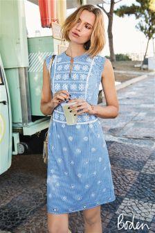 Boden Soft Blue Ivory Hotchpotch Broderie Dress