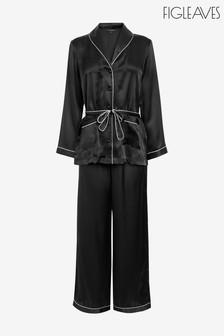 Figleaves Black Ava Silk Palazzo Pyjama Set