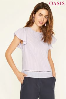 Oasis Purple Thin Ticking Stripe Angel Sleeve Top