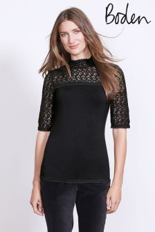 Boden Black Seraphina Lace Top