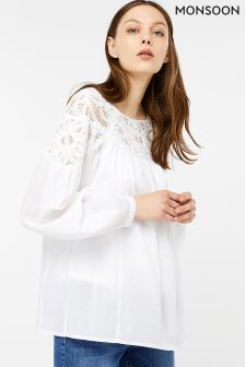 Monsoon White Bertha Boho Top