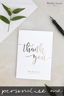 Personalised Script Foil Thank You Card By Wedding Graphics