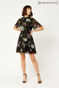 Warehouse Black Molly Print Dress