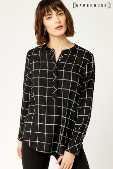Warehouse Black  White Mono Check Side Button Blouse