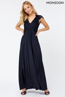 Monsoon Navy Gwyneth Lace Maxi Dress