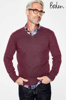 Boden Purple Linden V-Neck Jumper