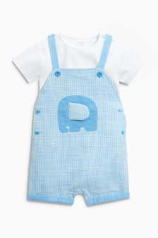 Elephant Dungarees And Bodysuit Set (0mths-2yrs)