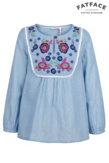FatFace Chambray Mera Stripe Embroidered Blouse