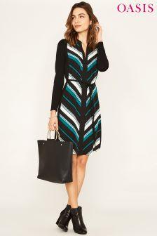 Oasis Green Duffy Stripe Boatneck Dress