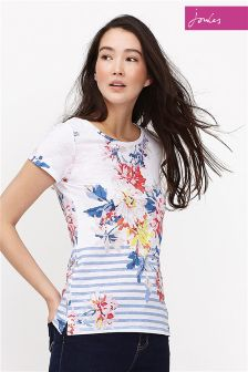 Joules White Whitstable Floral Nessa Print Jersey T-Shirt