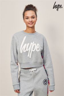 Hype. Grey Floral Crew