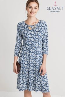 Seasalt Longor Dress Swirling Chrysanth Marine