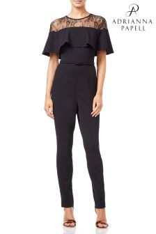 Adrianna Papell Black Petite Illusion Neckline Jumpsuit