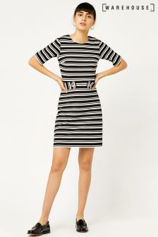 Warehouse Black/White Stripe Ponte Dress