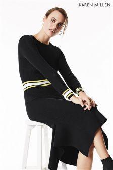 Karen Millen Blue Bold Stripe Rib Knit Dress