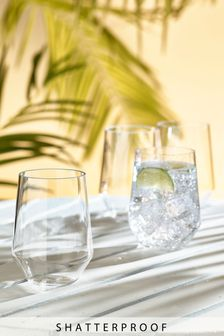 Set of 4 Faceted Plastic Tumblers