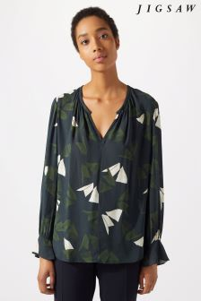 Jigsaw Blue Abstract Strokes Blouse