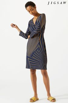 Jigsaw Blue Fan Print Wrap Dress