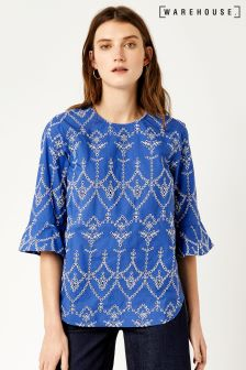 Warehouse Blue Broderie Cutwork Top