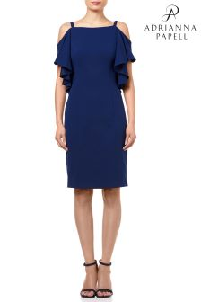 Adrianna Papell Blue Knit Crepe Flutter Cold Shoulder Sheath Dress