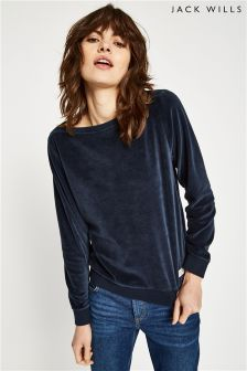 Jack Wills Navy Fromshaw Velour Sweatshirt