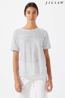 Jigsaw Black Fine Stripe Tee