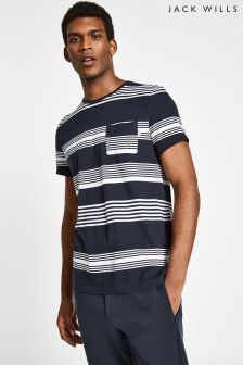 Jack Wills Navy Barling Stripe T-Shirt