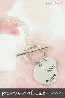 Personalised Sterling Silver Toggle and Disk Charm Necklace By Lisa Angel