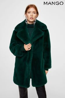 Mango Green Faux Fur Coat