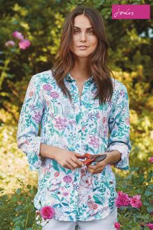 Joules Bright White Secret Garden Jeanne Print Shirt