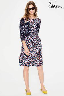 Boden Navy Poppy Meadow Hotchpotch Pintuck Dress