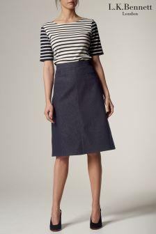 L.K.Bennett Reene A-Line Denim Skirt