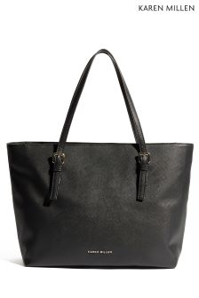 Karen Millen Black Faux Saffiano Collection Bag