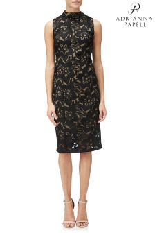 Adrianna Papell Black Lace Mock Neck Sheath Dress