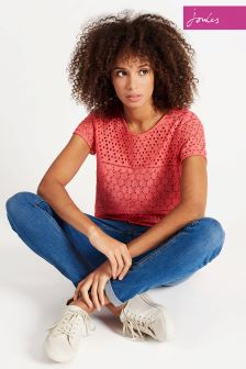 Joules Red Sky Nadine Broidery Tshirt