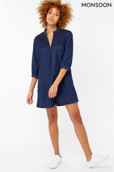 Monsoon Blue Stevie Embroidered Denim Dress