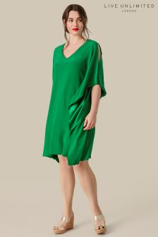Live Unlimited Green Waterfall Dress With Zip Detail