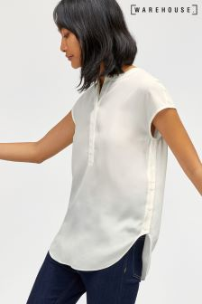 Warehouse Ivory Short Sleeve Side Button Blouse
