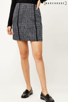 Warehouse Blue Bridget Tweed Pelmet Skirt