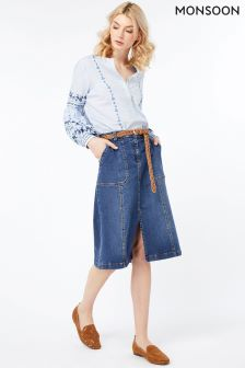 Monsoon Blue Dani Denim Skirt