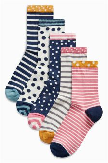 Spot And Stripe Ankle Socks Five Pack