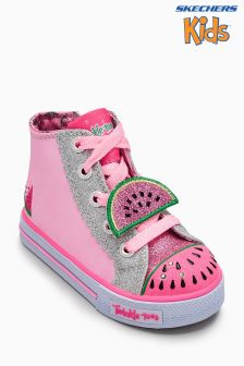 Skechers® Pink Shuffles Patch Party Lighted Hi Top Glitter