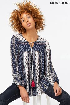 Monsoon Blue Marci Print Top