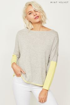Mint Velvet Grey Blocked Sleeve Cocoon Knit