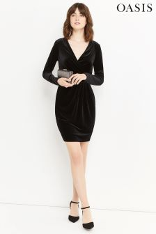 Oasis Black Velvet Romana Wrap Dress