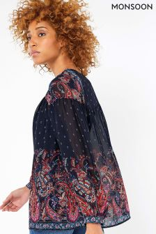 Monsoon Blue Victoria Paisley Print Top